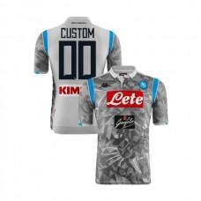 Custom Napoli 2018/19 Third Stadium #00 Light Gray Jersey - Authentic