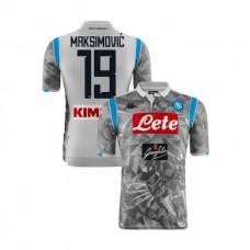 Napoli 2018/19 Third Stadium #19 Nikola Maksimovic Light Gray Jersey - Authentic