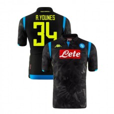 Napoli 2018/19 Champions League Away #34 Amin Younes Black Jersey - Authentic