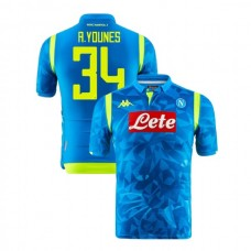 Napoli 2018/19 Champions League Home #34 Amin Younes Sky Blue Jersey - Authentic