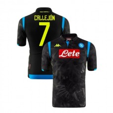 Napoli 2018/19 Champions League Away #7 Jose Callejon Black Jersey - Authentic