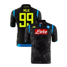 Napoli 2018/19 Champions League Away #99 Arkadiusz Milik Black Jersey - Authentic